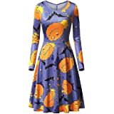 XINHEO Womens Plus Size Halloween Pumpkin Face Crewneck Swing Mini Dress