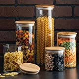 Canister Set of 5, Glass Kitchen Canisters with Airtight Bamboo Lid, Glass Storage Jars for Kitchen, Bathroom and Pantry Orga