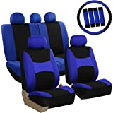 FH Group FB030BLUEBLACK-COMBO Seat Cover Combo Set with Steering Wheel Cover and Seat Belt Pad (Airbag Compatible and Split B