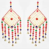 Traditional Square ring with pom pom door hanging set of 2 for Home Door, Wall, Temple, Bedroom , Decoration for Party, India