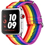 Bandmax Compatible Rainbow Apple Watch Bands LGBT, Comfortable&Durable Sport Straps Nylon Replacement Wristband Accessories M