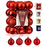 Aitsite 24 Pack Christmas Tree Ornaments Set 1.57 inches Mini Shatterproof Holiday Ornaments Balls for Christmas Decorations