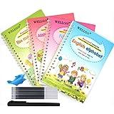 WELLGO 4pcs English Magic Practice Copybook for Kids, Reusable Handwriting Workbook for Preschoolers Number Alphabet Drawing