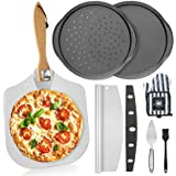 """Foldable Pizza Peel & Rocker Cutter & Server Set, 7Pcs All in One Baking Supplies 12"""" x 14"""" Aluminum Metal Pizza Paddle with"""