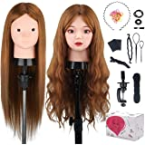 Beauty Star 23.5 inch 100% Real Human Hair Training Head Cosmetology Make-up Hairdressing Mannequin Manikin Doll Head with Ta