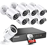 ANNKE 8CH Security Surveillance System H.264+ 1080P Lite DVR with 1TB HDD and (8)×1080P HD Weatherproof CCTV Camera System, 1