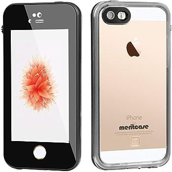 Merit iphone5/5S/SE 防水ケース 透明 超軽 アイフォン 5 防水 カバー 防塵 耐衝撃 IP68 指紋認識 ブラック
