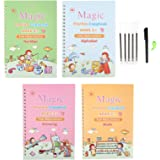 Magic Practice Copybook, English Magic Handwriting Copybook, Reusable Writing Practice Book Set with Pen for Kids