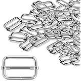 Alcoon 30 Pieces Slide Buckle 1 inch Metal Triglide Slides Rectangle Adjustable Webbing Slider for Purse Making Bag Making Su