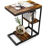 ZXD サイドテーブル コの字型デザイン ベッド リビングサイドテーブル ソファサイドテーブル おりたたみサイドテーブル 幅45×奥行30×高さ55cm 虎の紋