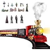 SNAEN Train Sets w/ Steam Locomotive Engine, Cargo Car and Tracks, Battery Powered Play Set Toy w/ Smoke, Light & Sounds, for