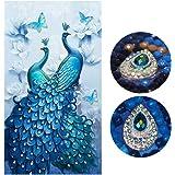 Diamond Painting Full Drill Beautiful Peacock DIY Arts Craft for Home Wall Decor (60 x 100 cm)