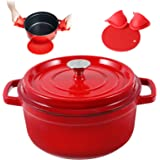 Enameled Cast Iron Dutch Oven Pre-seasoned Pot with Lid & Handles, 4 Quart Enamel Coated Cookware Pot with Silicone Handles a