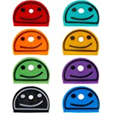 Uniclife Key Cap Covers Smile Face Identifier in 8 Assorted Colors for House Key Label Tags, 24pcs