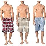 Andrew Scott Men's 3 Pack Light Weight Cotton Flannel Soft Fleece Brush Woven Pajama/Lounge Sleep Shorts