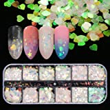 12 Shaped Holographic Nail Sequins Iridescent Mermaid Flakes Colorful Glitter Sticker Manicure Nail Art Design Make Up DIY De