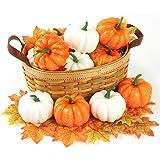 DomeStar Artificial Pumpkins, 12PCS Mini Fake Pumpkins with 30PCS Lifelike Maple Leaves, Faux Pumpkins Artificial Vegetables