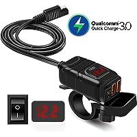 offeree バック オートバイ専用電源 2つQC3.0急速USB充電器 USB電源 防水 電圧表示 独立ON/OFF…