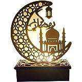 Eid LED Light Wooden Moon Book Light DIY Mubarak Festival Light Lamp Desktop Moon Atmosphere Night Light Muslim Islam Ramadan