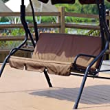 Yuehuam Patio Swing Cushion Cover Courtyard Garden Swing Seat Cover Replacement 3-Seat Cover Waterproof Protection Cover 59x4