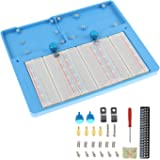 Makeronics 7 in 1 Blue RAB Holder and 3PCS 400 Points Solderless Breadboard | Base Plate with Rubber Feet for Raspberry Pi 4