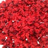 CODE FLORIST 2200 PCS Dark Silk Rose Petals Wedding Flower Decoration, 2 Inch, Red-black