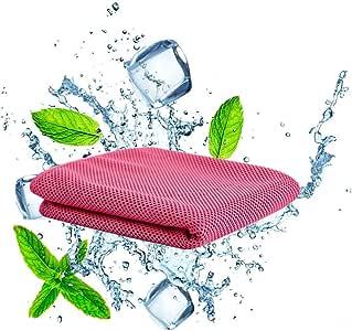 QcoQce 冷却タオル 運動タオル 軽量 速乾 超吸水 UVカット 熱中症対策 猛暑を対策に (ピンク)