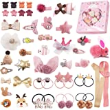 48PCS Baby Girls Hair Accessories Set Baby Hair Clips Fully Lined Cute Hair Bows Clips Elastic Hair Bands Bow Hair Ties Ponyt