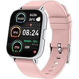 スマートウォッチ1.69インチ大画面, 2021新版Bluetooth5.0 フルタッチスクリーン 活動量計歩数計ストップウォッチ, SMS, Twitter, Lineの通知, IP67防水24種スポーツ smart watch レディース明度調整