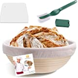(22cm) Home-Mart 9 Inch Round Banneton Proofing Basket Set + Cloth Liner + Dough Scraper + Bread Lame - Sourdough Basket Set