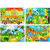 Wooden Jigsaw Puzzles Set for Kids Age 3-8 Year Old 30 Piece Colorful Wooden Puzzles for Toddler Children Learning Educationa