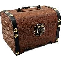 JYLRX木製貯金箱、手作りの宝箱、ロック付き収納ボックス、大人と子供のための最高のギフトボックス、家のアクセサリーを置くことができます (大きいサイズ)