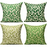 VAKADO Outdoor Green Leaves Decorative Throw Pillow Covers Summer Spring Modern Nature Tropical Plants Cushion Cases Home Dec