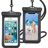 2枚セット& Face ID認証/指紋認証対応 防水ケース スマホ用 IPX8認定 完全保護 防水携帯ケース 完全防水 タッチ可 顔認証 気密性 iPhone11/iPhoneXR/X/Android 6.5インチ以下全機種対応 防水カバー 水中撮影