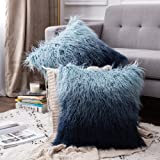 MIULEE Pack of 2 Decorative Throw Pillow Covers Gradient Plush Faux Fur Luxury Deluxe Fluffy Super Soft Cushion Case Pillowca