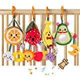 TUMAMA Baby Toys for 3 6 9 12 Months,Hanging Fruit Rattles Avocado,Banana,Orange and Strawberry,Stroller Mobile Toys,Plush So