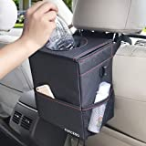 SUKCESO Car Trash Can with Lid. Premium Collapsible Car Trash Bag Hanging. 100% Leak Proof Trash Bin with 3 Storage Pockets (