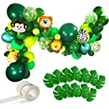Jungle Party Balloons Garland Kit - 110pcs Latex Balloons Animal Foil Confetti Balloon Arch Palm Leaves Set for Jungle Theme