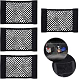 CUGBO 4 Pack Car Storage Net, Universal Black Mesh Trunk Cargo Side Back Seat Organizer, Nylon Velcro Wall Sticker Pouch Bag