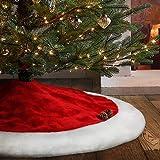 yuboo 48 Inch Christmas Tree Skirt&Christmas Stockings,Large Velvet Red&White and Same Style Christmas Stockings for Decorati