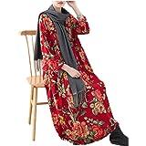 Yesno JX6 Women Loose Long Retro Floral Dress 100% Cotton Square Neck 3/4 Bat-wing Sleeve Side Split /Pocket