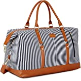 BAOSHA HB-14 Canvas Travel Tote Duffel Bag Carry on Weekender Overnight Bag Oversized for Women and Ladies (Blue Strip)
