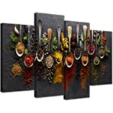 iHAPPYWALL Kitchen Pictures Wall Decor 4 Pieces Couful Spice in Spoon Vintage Canvas Wall Art Food Photos Painting On Canvas