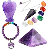 mookaitedecor Amethyst Healing Crystals Set, 7 Chakra Bracelet, Palm Stones, Pendulum, Pocket Guardian Angel, Pyramid Meditat