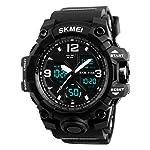 Men's Sports Analog Digital Dual Time LED Watch Military Multifunctional Waterproof Wristwatch with Alarm Stopwatch Black