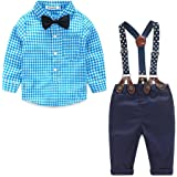 Kimocat Toddler Boy Clothing Sets Plaid Shirt Bowtie and Suspender Strap Pants Outfits