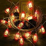 ANZOME 20-LED 3m/9.8ft Red Lantern Mini Kerosene Fairy Strings Light, 2 Modes Battery Powered Lighting for Home Wedding Party