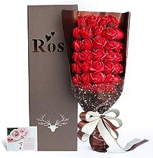 Yobansa  造花 石鹸の花 花束 ソープ フラワー 大切な人 へ 感謝 の 気持ち を 伝える 花束 ( 母の日 ・ バレンタイン ・ ホワイトデー ・ 入学 ・ 卒業 ・ 誕生日 ・ 結婚記念日 など 様々な お祝い の シーン に 最適 , 33 本