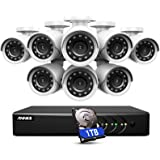 ANNKE 8CH H.265+ Surveillance System with 1TB Hard Disk,5MP Lite DVR Recorder with (8)1080P HD Home CCTV Security Cameras, 10