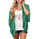 Zando Womens Floral Print Kimono Beach Cover Up Loose Open Front Tops Cardigan Half Sleeve Chiffon Shawls and Wraps